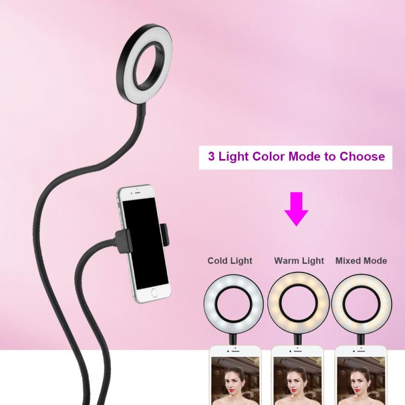 Portable <font><b>Selfie</b></font> <font><b>Ring</b></font> Light 360 degree Long Arm Table phone Holder <font><b>LED</b></font> Fill-in Light for Live Stream&#038; Makeup