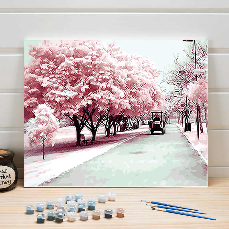 DIY Picture By Numbers On Canvas Sakura Oil Paintings Landscape For Living Room Wall Acrylic Arts Crafts Home Wedding Decoration