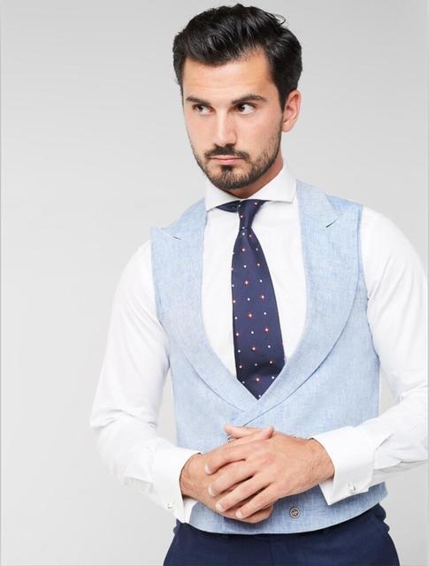 Coat Vest 2017 Designs Latest Men Linen Light Colete Pant Blue 8q8w156
