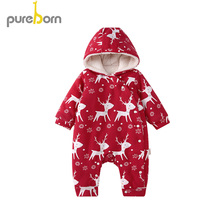 pureborn を 新生児ユニセックスベビーロンパースフリース裏地フード付き女服男の子冬ジャンプスーツ衣装クリスマス衣装