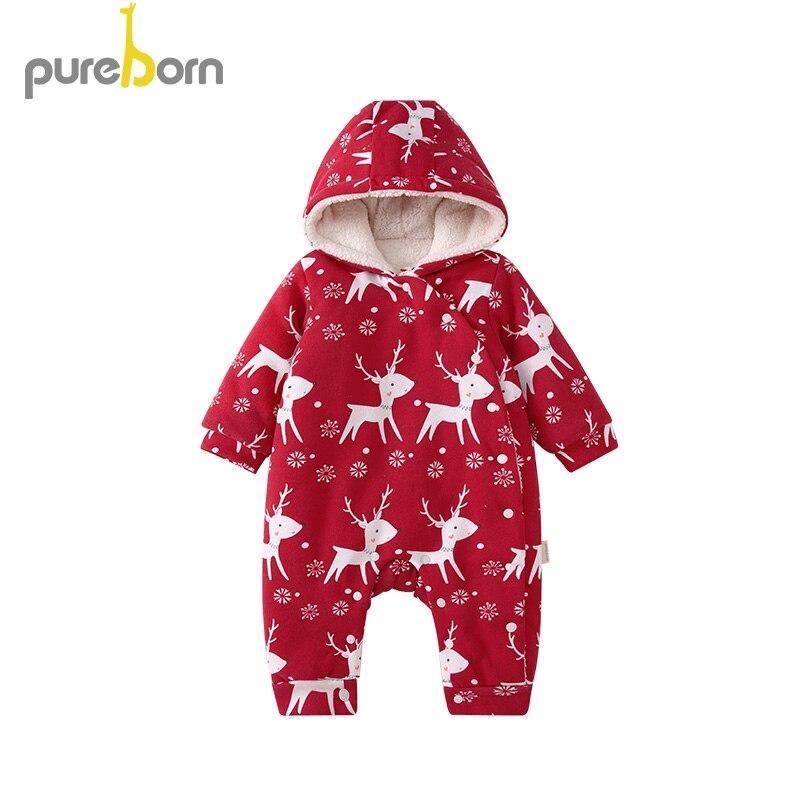 pureborn Baby Boy Girl Christmas Hooded Thicken Fleece   Romper   for Newborn Cartoon Christmas Deer Tree One-Piece Jumpsuit