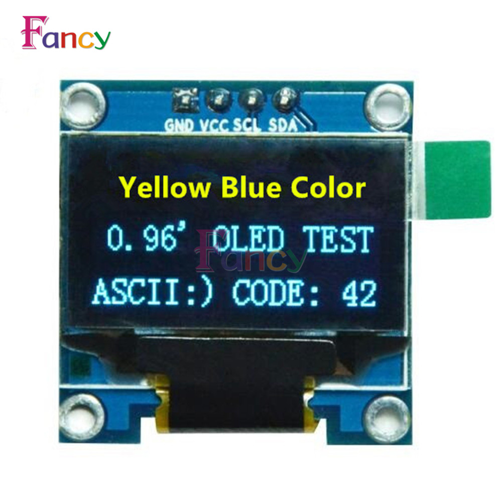 0.96 inch IIC Serial Yellow Blue OLED Display Module 128X64 I2C SSD1306 12864 LCD Screen Board GND VCC SCL SDA 0.96 for Arduino
