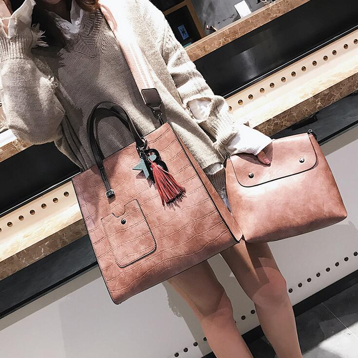 2 bags European style Fashion New Women Handbags 2017 High Quality PU Leather Women Big Tote bag Stone grain Tassel Shoulder bag high quality canvas grain pu leather
