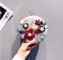 Angelatracy 2019 New Arrival Vintage Floral Handmade Ribbon Embroidery Pearl Diamond Shoulder Evening Bag Wrist Day Clutch