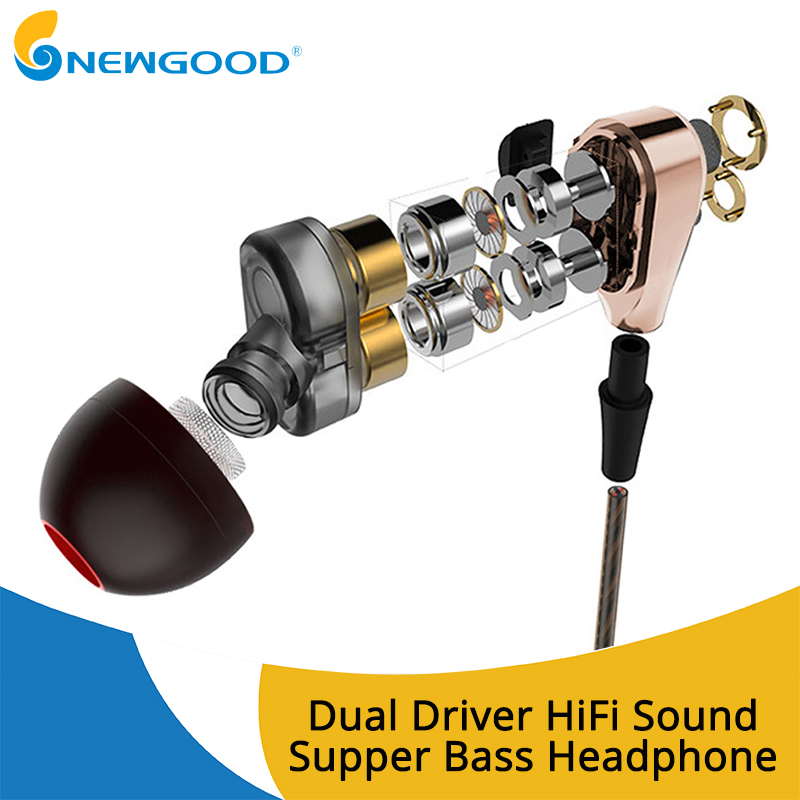 Noise Cancelling Earphones Dual Driver Earphone With MIC Gaming Headset Stereo Earphones With Microphone For Mobile Phone byz jsy 001 driver unilateral phone earphone with microphone