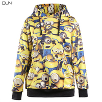 OLN Woman Lovely Digitally Printed Minions Hooded Plus Size Women Cute Hoodies Autumn Winter Casual Lady Home Clothes Girl