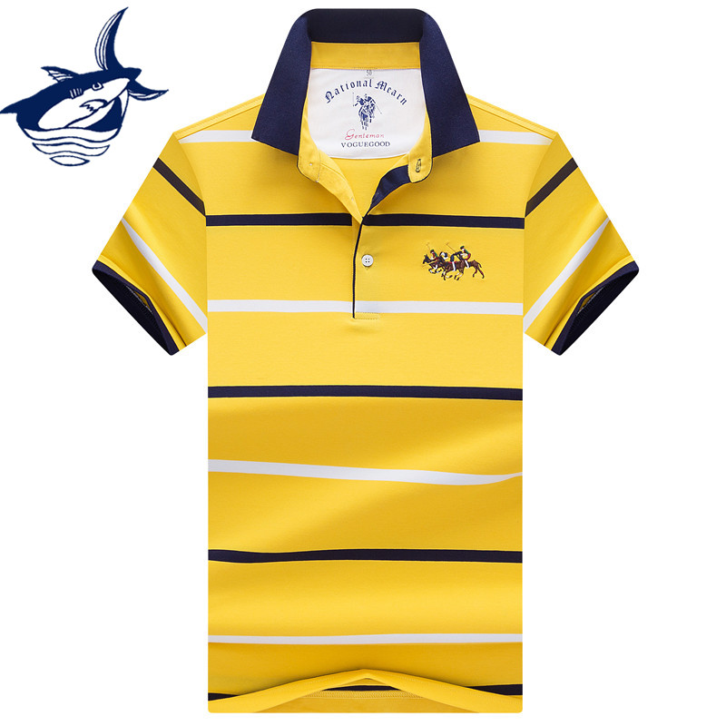 New High Quality Men's   Polo   shirts Business men brands Tace & Shark   Polo   Shirts 3D embroidery Turn-down collar mens   polo   shirt