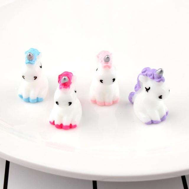 4 Pcs/set Cartoon Mini Resin Unicorn Miniature Cute Fairy Micro Landscape Unicorn Decor Figurine Home Garden Decors 4