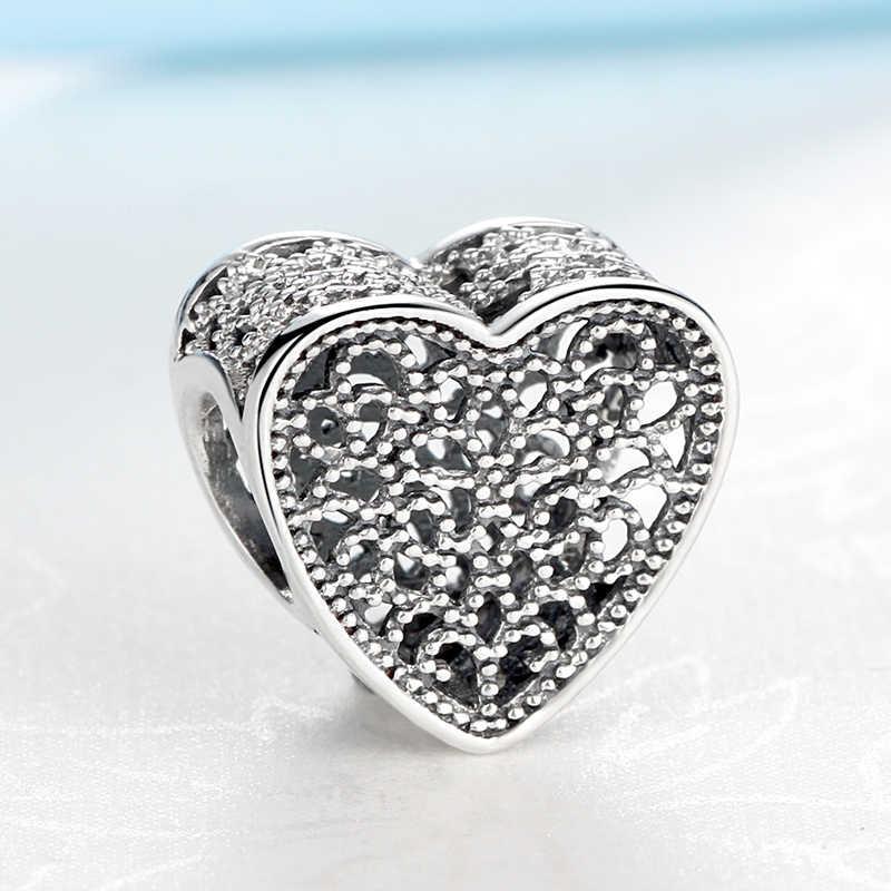 Autêntico 100% 925 prata esterlina charme grânulo preenchido com romance coração encantos caber pandora pulseiras feminino jóias diy