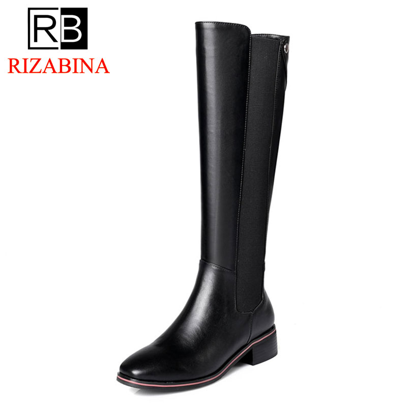 RizaBina Women Knee High Boots Winter Genuine Leather Shoes Woman Patchwork Elastic Band Flats Boots Luxury Shoes Size 33-42 women s winter platform flats over the knee boots brand designer genuine suede leather patchwork elastic long boots shoes women