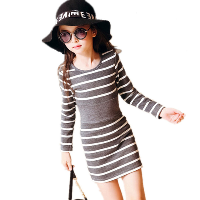 4-13T Spring Summer Casual Girls Dress Children Clothing O-Neck Striped Teenager Toddler Party Kids Dresses For Girls Clothes