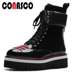 CONASCO/Новинка 2018, модные женские ботильоны на шнуровке в стиле панк, классический дизайн, женская повседневная обувь на плоской подошве