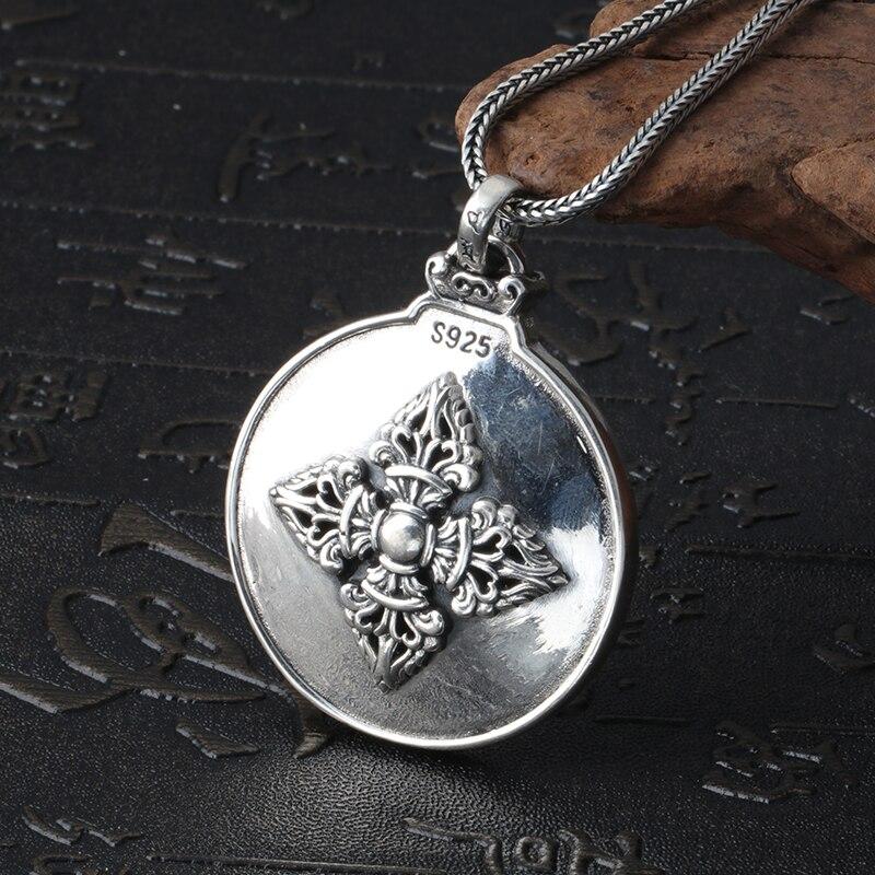 Mode hommes charmes 925 pendentif en argent Sterling collier Style Vintage rond Design pendentif mâle bijoux en argent cadeau garçon - 2