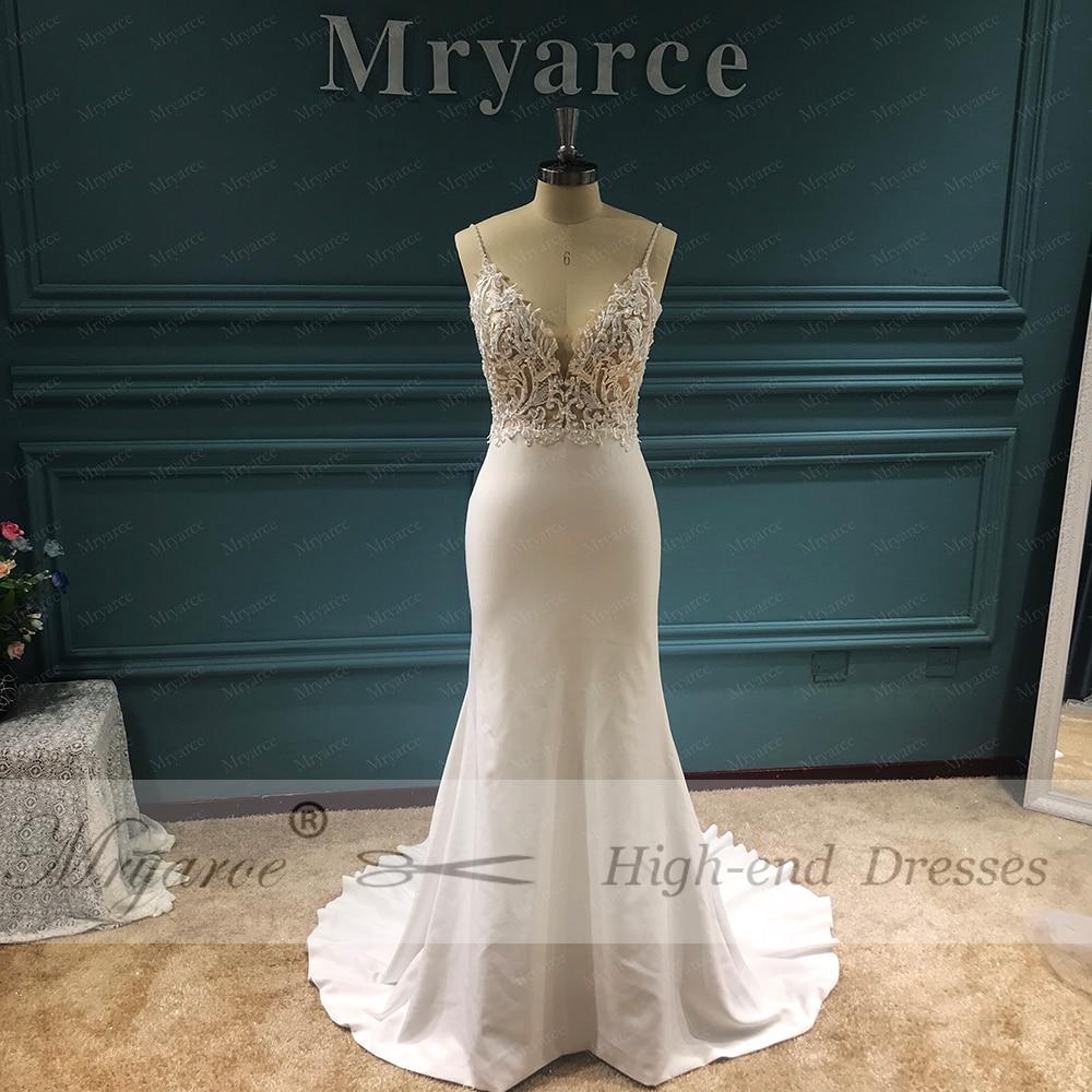 Image 2 - Mryarce Unique Bridal Crepe Mermaid Gowns Spaghetti Straps Lace Beading Open Back Wedding DressesWedding Dresses   -