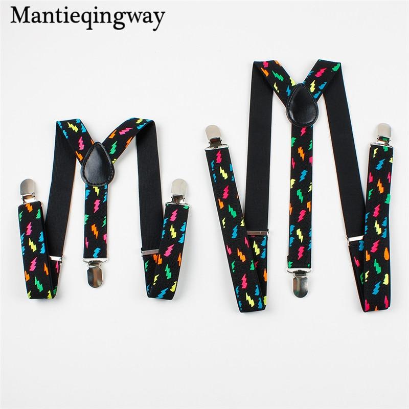 Mantieqingway Parenting Suspenders Women Men Fashion Colorful Flash Printed Suspender For Kids 3 Clips Adjustable Braces Belt