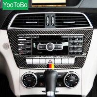 Carbon Fiber Car Accessories Central Control CD Plane Car Sticker For Mercedes Benz W204 C Class