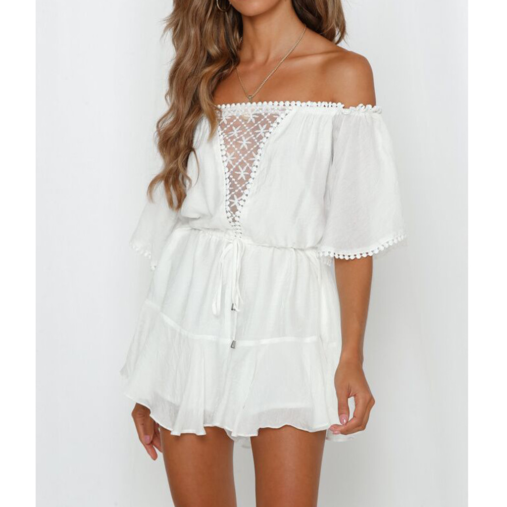Corset white Lace Strapless Collar One-Piece Rompers Women's Casual Off Shoulder Bandage see-through sexy playsuit mini   Jumpsuit