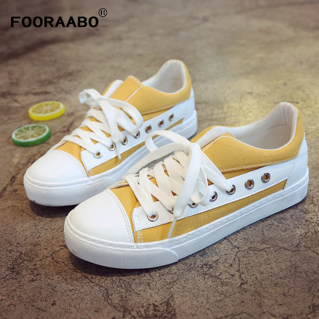 404f6ae35ba1 FOORAABO 2018 New Women s Vulcanize Shoes Breathable Spring Autumn Fashion  Girls Female Casual Canvas Shoes Woman Sneaker Shoes
