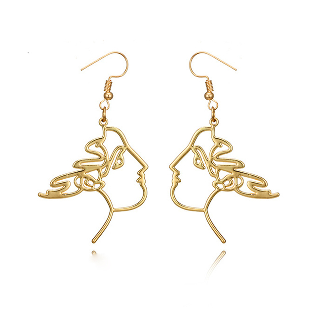 e65d387d75c92 Unique Charming Gold Filled hollow Face Dangle Wire Earrings Girls Artsy  Outline Long Earrings For Women