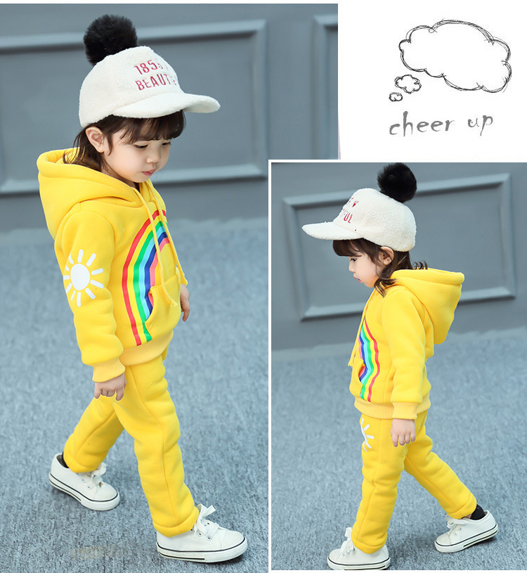 Girls Winter Clothes Suit Hooded Rainbow Jackets Clothing Set For Kids Girl Cute Sets Thick 2 Pcs Warm Children Clothes