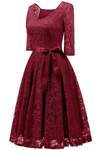 Image 3 - Elegant Burgundy Cocktail Dress MisShow V Neck Knee Length Floral Lace Gown Ribbons Bow 2019 Women New Style Cocktail Dresses