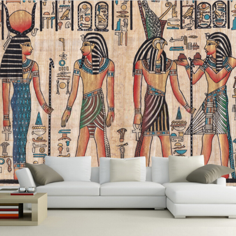 Custom Mural Wallpaper Egypt Retro Pattern TV Background Wallpaper KTV Hotel Abstract Mural People Oil Painting Wall Paper