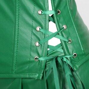 Image 4 - Сексуальное женское платье корсет из искусственной кожи, корсет бюстье с мини юбкой, ядовитый костюм с узором плюща, зеленого размера плюс, для женщин