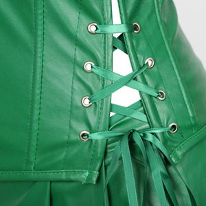 Image 4 - Sexy espartilho vestido feminino de couro falso overbust espartilho bustier com mini saia veneno ivy traje verde plus size S 6XL