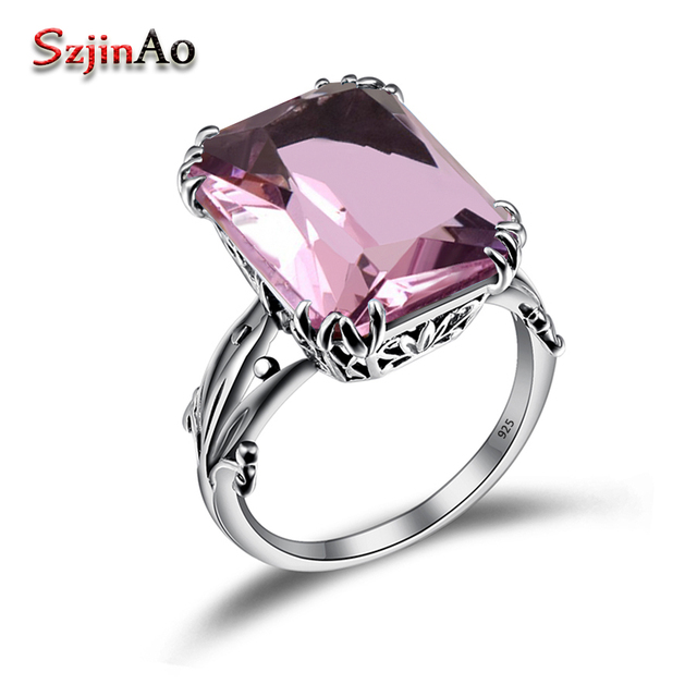 Szjinao Luxury Vintage Square Pink Stone Solid 925 Sterling Silver Wedding Rings