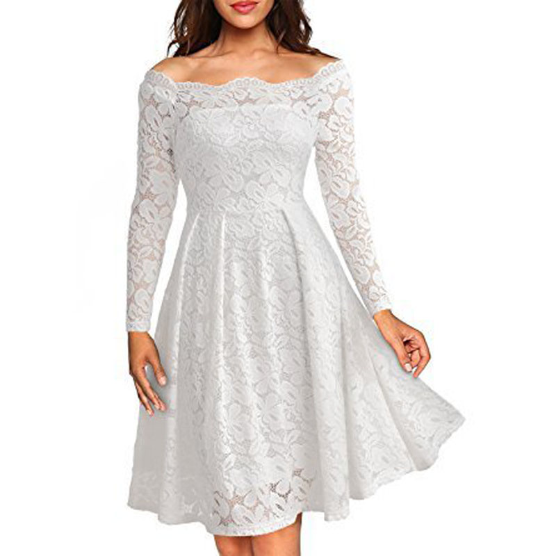 JTCWEAR Sexy Lace Slash Neck Long Sleeve Dress Elegant Vintage Ruffle Tunic  Fit Flare Party Club Casual Business Lady Dress 200-in Dresses from Women s  ... 366d4834fe4b