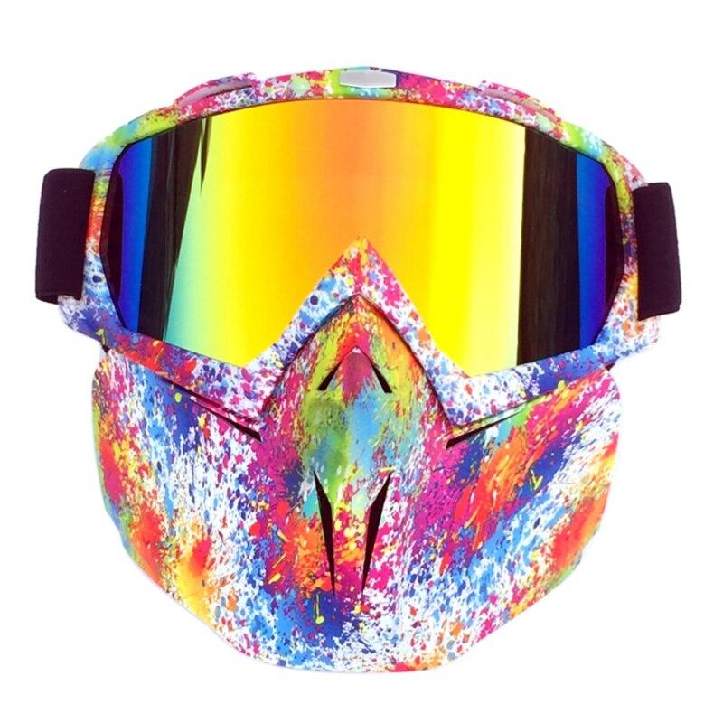 Männer Winter Winddicht Motorrad Multicolor Radfahren Goggles + Gesicht Maske Gläser Abnehmbare Off-road Skifahren Maske Zubehör