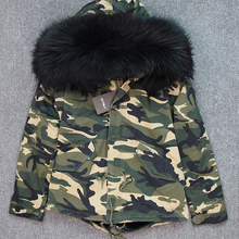 Real Fur Collar Coat Brand 2020 New Army Green Camouflage Winter Jacket Women Thick Parkas