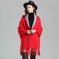 Classic Solid Female Cashmere Poncho Women's Long Fringle Chal Stole Tippet Winter New Brand Pashmina Hot Sale mantilla Echarpes
