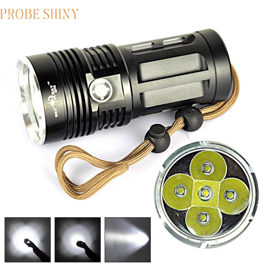 JA 6 Shining Hot Selling Fast Shipping High power 8000 LM 6T6 5x CREE XM-L T6 LED Flashlight Torch Lamp 3 Modes 18650 led 3 5x