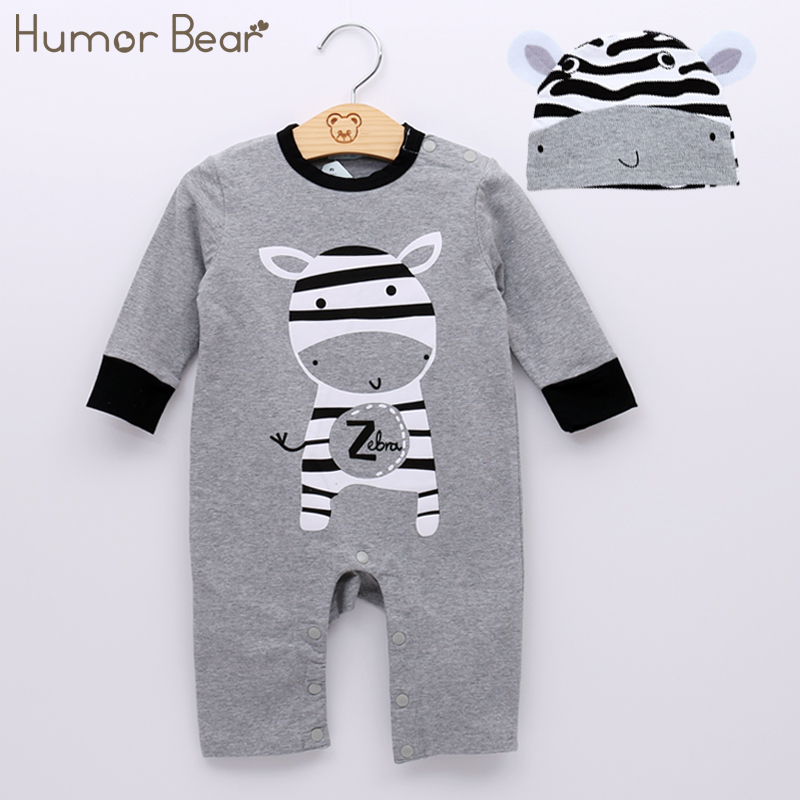 Humor Bear Baby Girls Clothing Fashion Baby Casual Cartoon Baby Boy Girl Rompers Long Sleeve +Hat Sute 2Pcs Baby Clothing