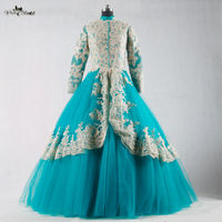 RSE695 Long Sleeve Muslim Evening Dress Turquoise And Gold Abaya Formal Dresses