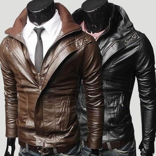 d5fceea74551 Free Shipping Retail&wholesale Men's Faux Leather Jacket Fit Slim PU Leather  Double zipper Coat Black Brown SIZE M-XXL J15. Price: