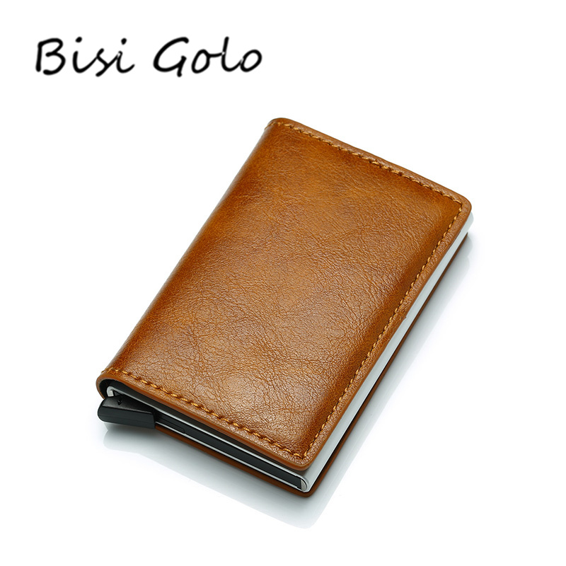 BISI GORO Antitheft Men Vintage Credit Card Holder Blocking Rfid Wallet Leather Unisex Security Information Aluminum Metal Purse