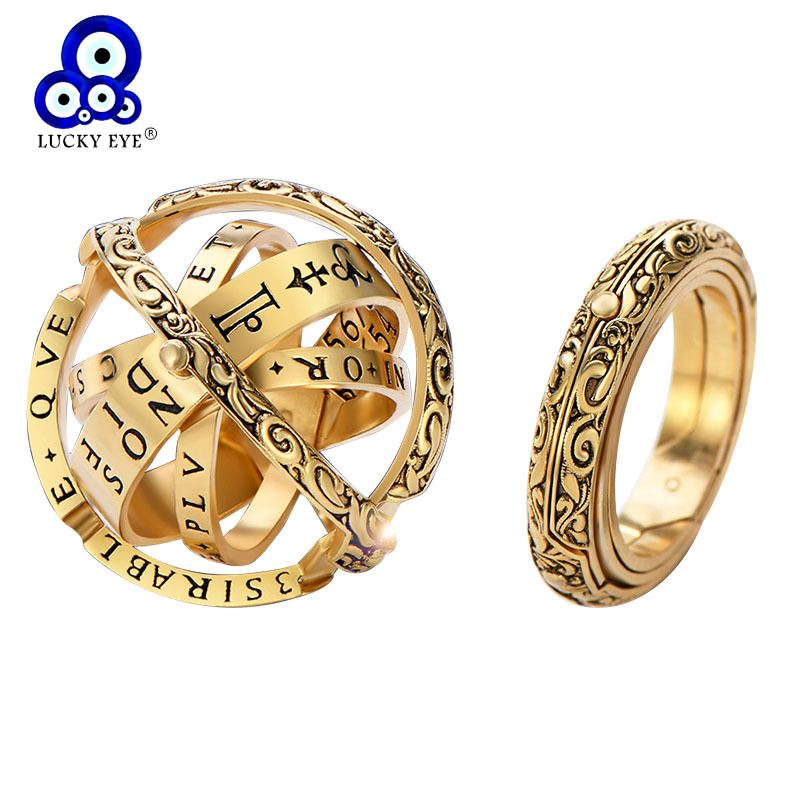Lucky Eye Astronomical Ring Sphere Ball Ring Gold Silver Complex Rotating Cosmic Finger Ring for Couple Lover Jewelry LE146(China)
