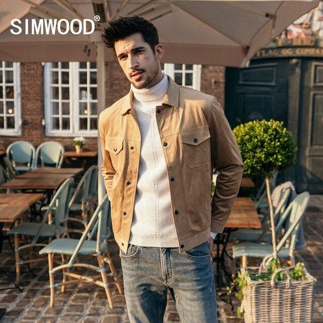SIMWOOD Smooth Suede Trucker เสื้อผู้ชาย 2020 ฤดูใบไม้ผลิคลาสสิก Workwear ดูแฟชั่น Western เสื้อ SLIM FIT เสื้อแจ็คเก็ต 180498
