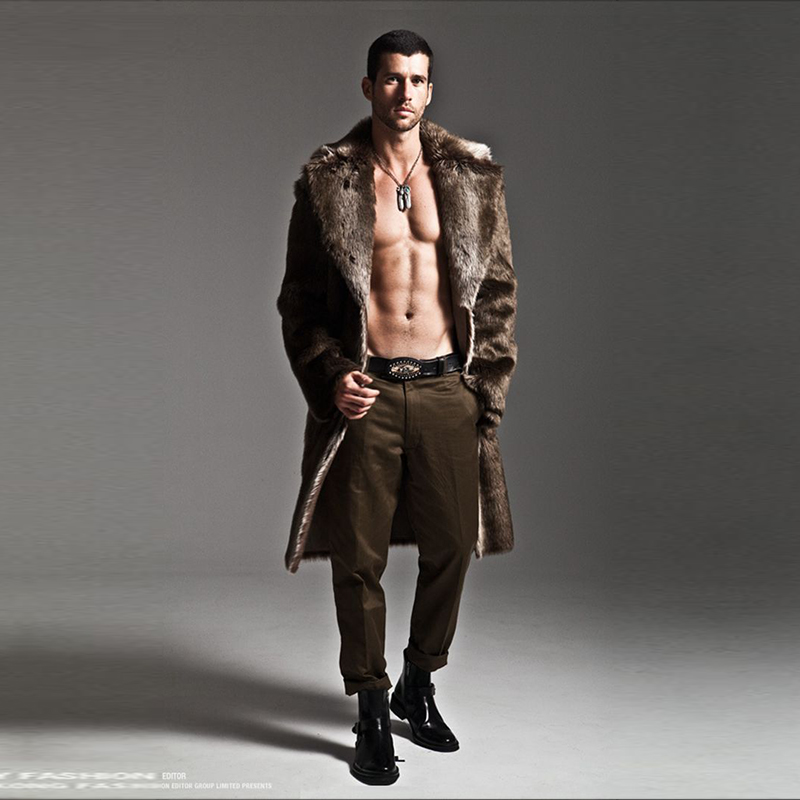 Men's Faux Fur Long Coat Brown/black Warm And Comfortable Winter 2018 New Brand Maylooks Hn128