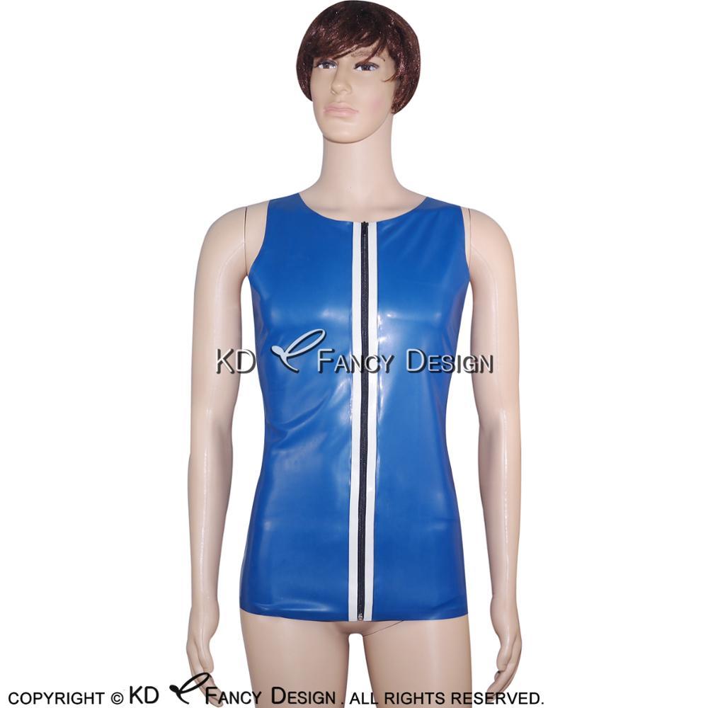 Bleu Avec Bande Blanche Galons Sexy Réservoir De Latex Fermeture Éclair À L'avant En Caoutchouc Top Vêtements vêtements YF-0025