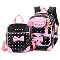 Модные детские школьные сумки в горошек для девочек  ортопедические школьные рюкзаки  детский школьный рюкзак  2 шт./компл.  школьные сумки п...