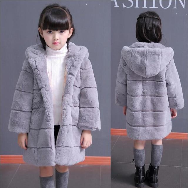 Рекс мех вся кожа детская кожа мех 2016 новых девочек шуба зимнее пальто толще капюшоном зимой Дети Пальто и куртки