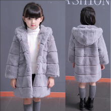 Rex fur whole skin children's leather fur 2016 new girls' fur coat winter coat thicker hooded winter Kids Coats & Jackets