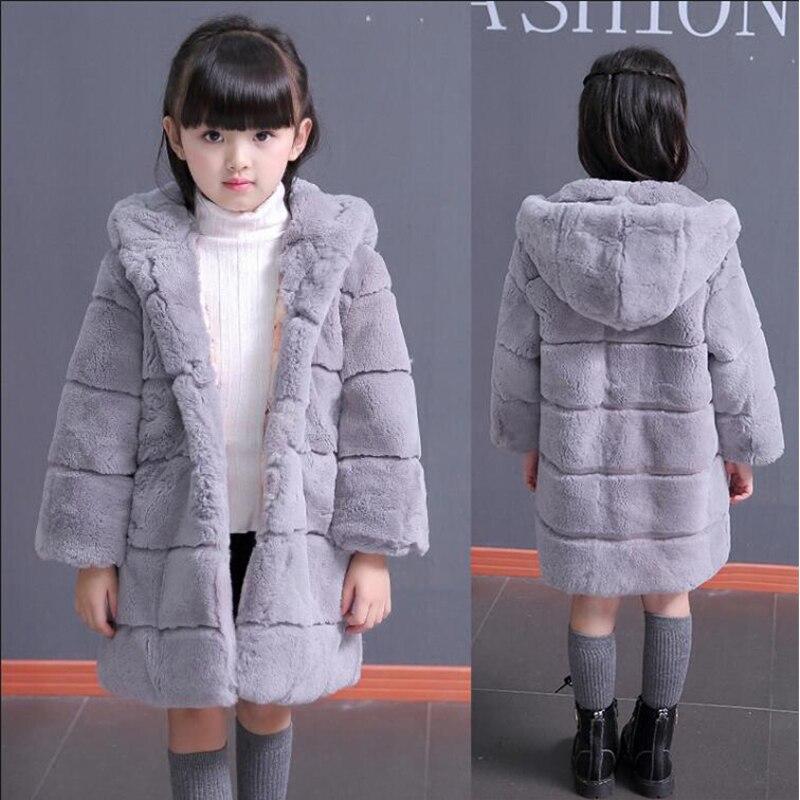 Rex fur whole skin children's leather fur 2016 new girls' fur coat winter coat thicker hooded winter Kids Coats & Jackets