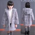 Whole pele Rex pele pele de couro das crianças 2016 novos das meninas casaco de pele casaco de inverno mais grosso com capuz inverno Crianças Casacos & jaquetas