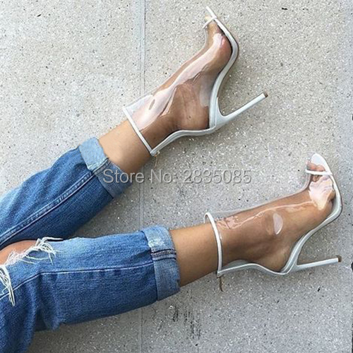 Fashion Design Summer Hot PVC Clear Plastic Ankle Booties Sexy High Heels  Jelly Shoes Woman Stiletto Transparent Boots Peep Toe ba398f470ea4