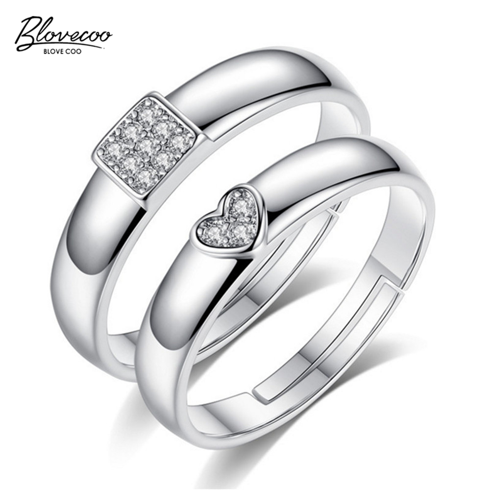 BLOVECOO Fashion silver first couple ring high grade AAA zircon ring adjustable adjustable heart shaped square exquisite gift