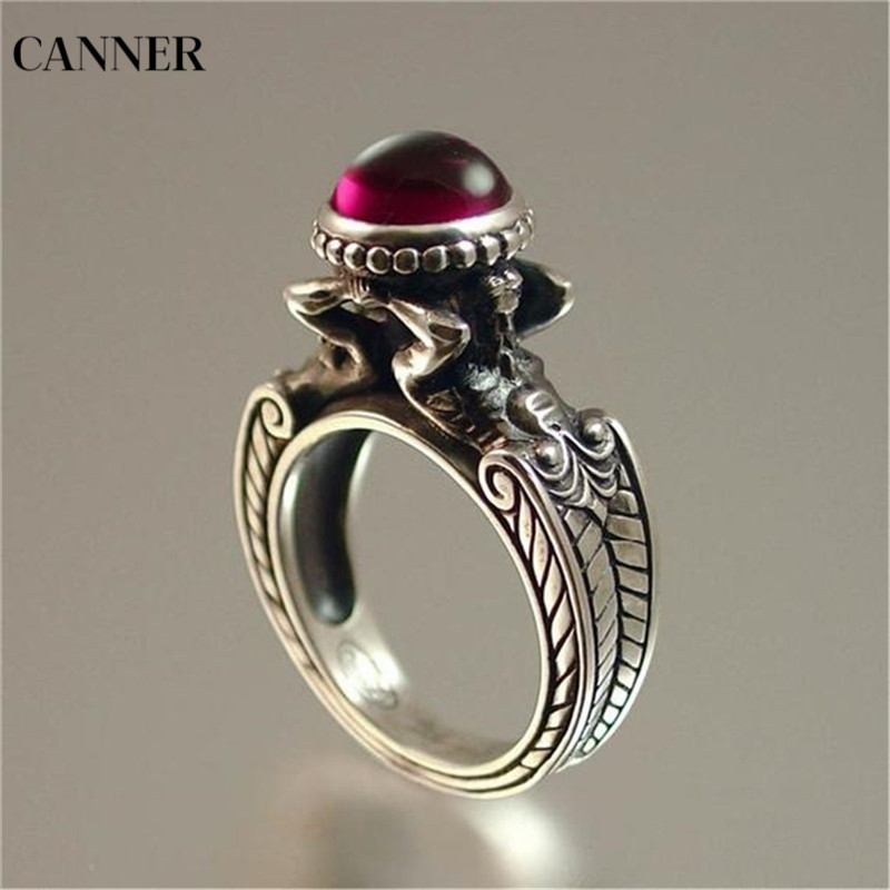 Canner Mermaid Red Crystal Rings Retro Wedding Engagement Ring Jewelry Silver Color For Women Girl in Wedding Bands from Jewelry Accessories